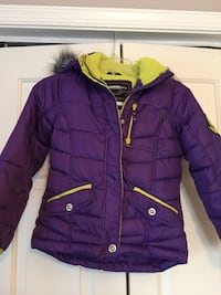 Purple and green zip-up bubble jacket