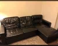 black leather sectional couch with ottoman Richmond Hill, L4C 6Z9