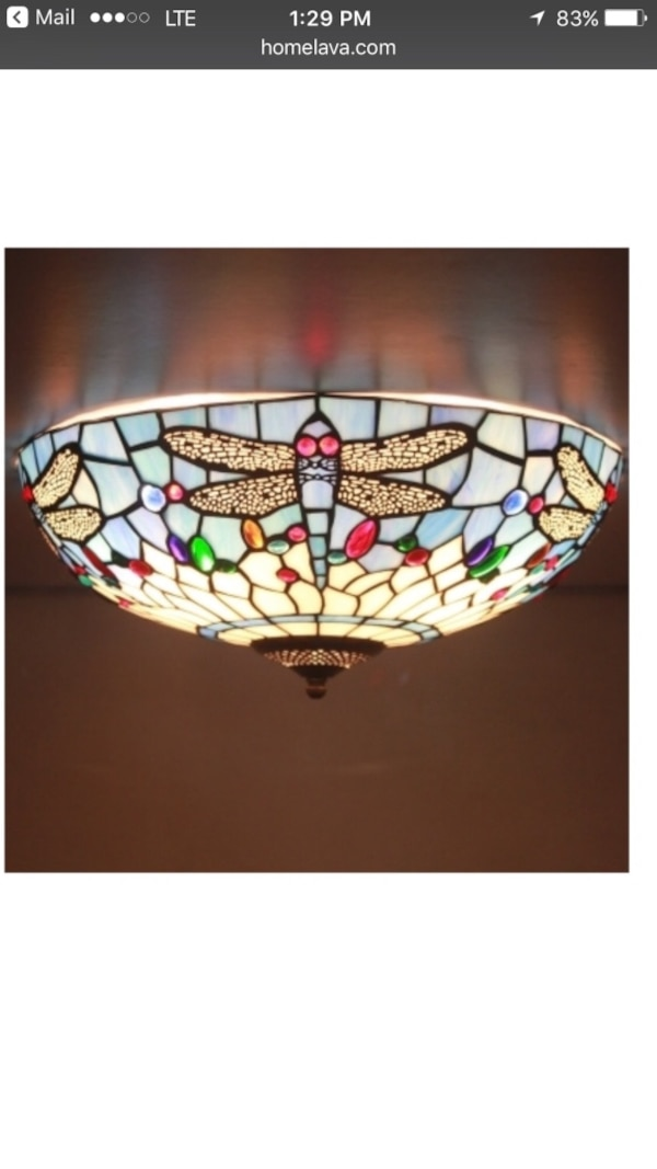 2 Stained Gl Flush Mount Light Fixture 16 Inches Diameter Brand New