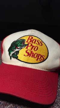 white and red Bass Pro Shops baseball cap