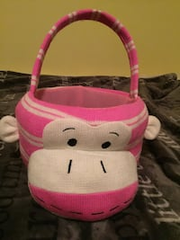 Easter basket - soft pink monkey
