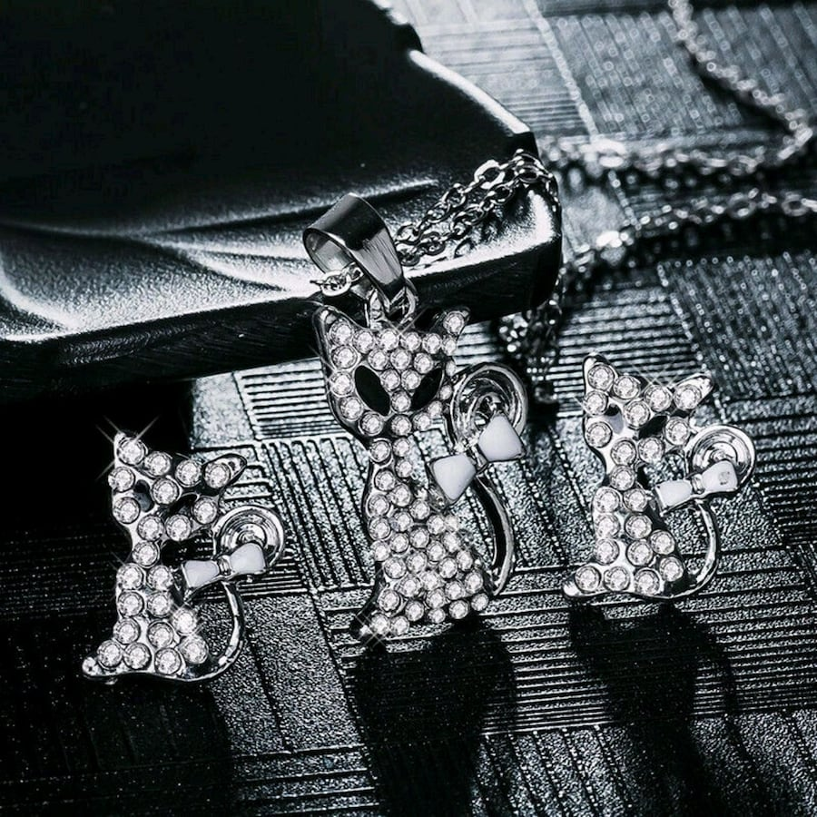 925 Siver Set CZ Crystal Chain Necklace Earring