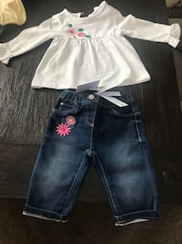 Baby girl floral design outfit, long sleeve top and jeans Webster