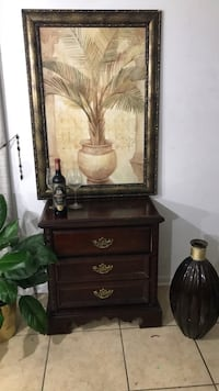 Oil painting and Cherry oak night or living room stand Austin