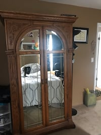 Oak  armoire, with leaded glass mirror front on East Hanover, 07936