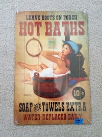 Hot baths western pinup pin up girl  metal sign  Vancouver, 98662