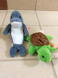 de704a28a43 white and blue dolphin plush ty beanie babies with turtle ty beanie babies