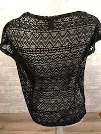 Sleeveless solid black T with Sheer Lace Back, Med York, 17402