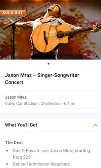 2 tickets for Jason Mraz concert