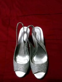 pair of women's silver pumps Milford, 06460