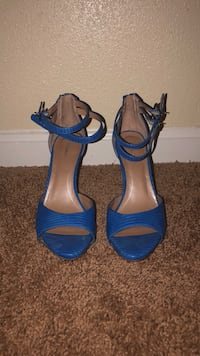 Pair of blue leather open-toe ankle strap heels 55 km