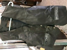 Black leather vest made in Canada