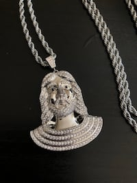 Iced Jesus Piece 18k white Gold plated necklace