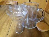 Iced tea pitcher with separate ice container and lid - glass