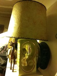 Antique Green and gold glass Porcelain lamp