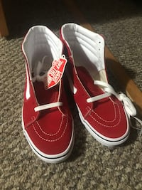 Red and White Vans High Tops 8.5W
