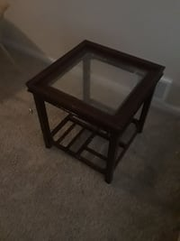 square brown wooden framed glass top side table DuPont, 98327