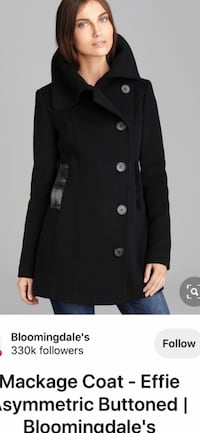 Mackage Effie Black Double Breasted Wool Pea Coat Leather Trim -4/6 US Richmond, V7E 6S2
