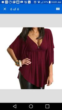 New burgundy/wine red batwing top