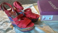 Bamboo Wedge Dorothy Red Boho Style Sandals Manteca, 95336