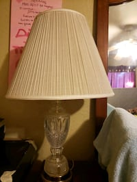 brown wooden base white shade table lamp Bakersfield, 93307
