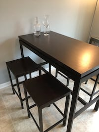 Metal framed wood table with four stools dining set Crofton, 21114