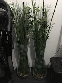 Glass vases with fake bamboo
