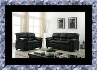 Black bonded sofa and loveseat Ashburn, 20147