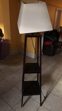black wooden base white lampshade floor lamp Toronto, M3K 1A1