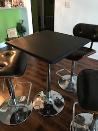 Stainless steel black high top bar table: chairs not sure included Cohoes, 12047