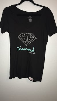 Diamond supply co black v neck Waterford, 95386