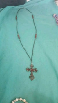 grey and red cross pendant with chain necklace