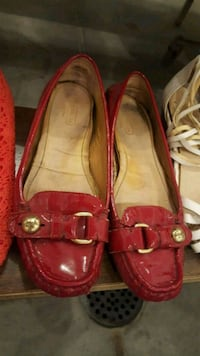 Red Patent Leather Coach Slip Ons