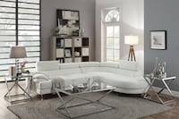 2 Piece Faux Leather Sectional Rounded Chaise In White FREE DELIVERY