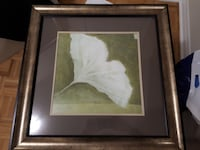 white petaled flower painting with brown wooden frame. MISSISSAUGA
