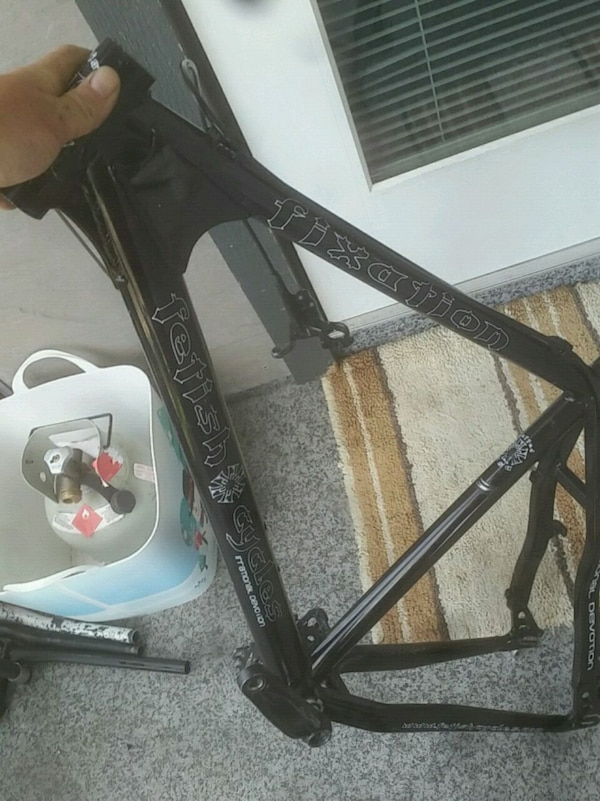 black and gray bicycle frame