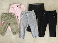 Lot of 5 toddler girl pants/jeans/courdoroy/cargo- sizes 24 months/2T Georgetown, L7G
