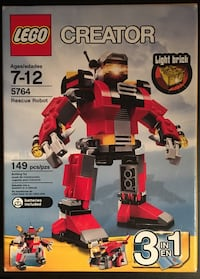 LEGO Creator 3 in 1 Rescue Robot Set 5764 - NEW AND UNOPENED Toronto, M6P 1Z5