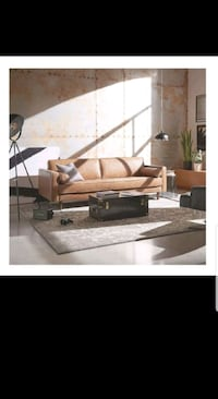 NEW - Modern Concepts - Mid-Century Modern Leather Bench Sofa (Cognac) Los Angeles, 90036