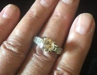 Facited Champagne & Clear Color Crystal Ring. Baguette cut stones on the shoulders Bear, 19701