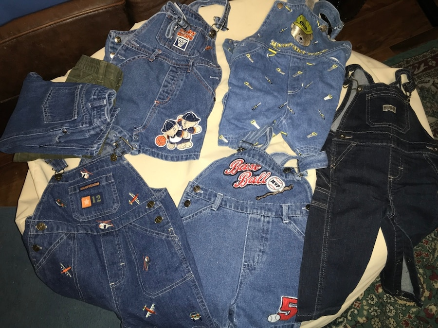 Photo 12-18 month toddler jumpers/overalls (5) and two pair pants *Like NEW!