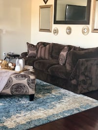 Brown suede leather sofa/sectional Waldorf, 20601