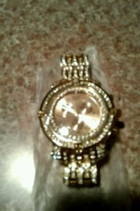 Gold stainless steel lab diamond watch for men 380 mi