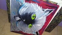white Persian cat painting