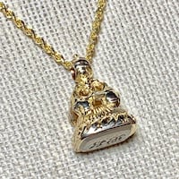 Antique 14k Yellow Gold Watch Fob Pendant with 14k Diamond Cut Rope Chain Ashburn