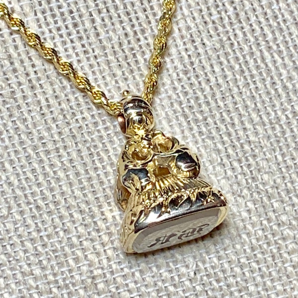 Antique 14k Yellow Gold Watch Fob Pendant with 14k Diamond Cut Rope Chain