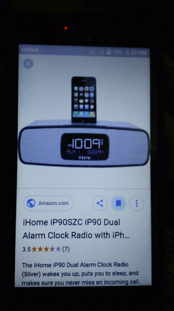 Ihome with 2 alarm settings and am/fm radio
