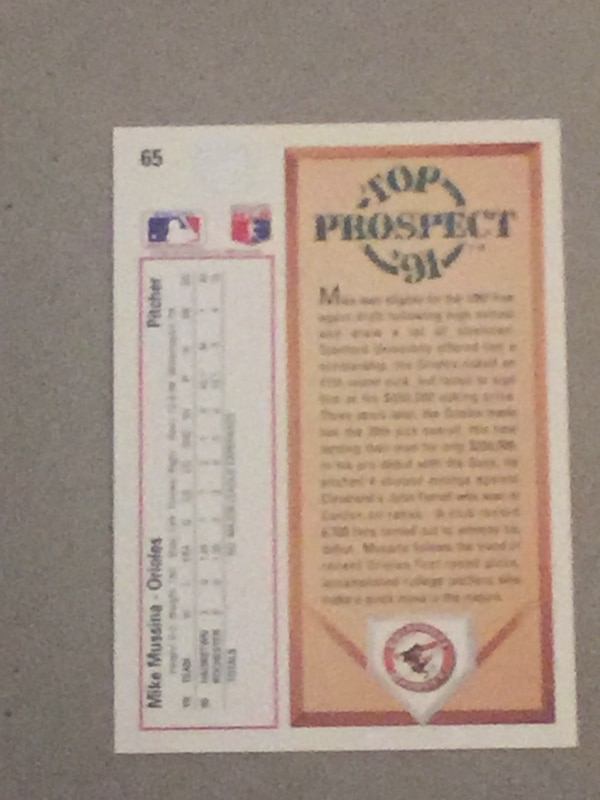 1991 Upper Deck Baseball Card 65 Mike Mussina Rookie 1 2