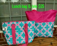 blue and pink quatrefoil lunch bag and tote bag Grovetown, 30813