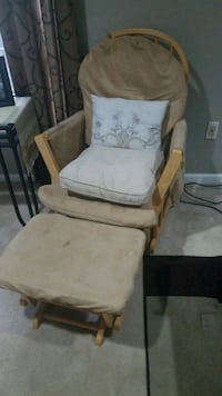 brown wooden framed white padded glider chair Gaithersburg, 20879